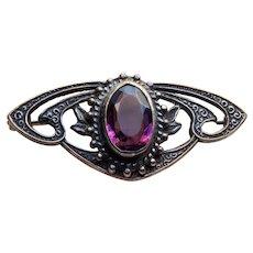 Antique Purple Glass Brooch