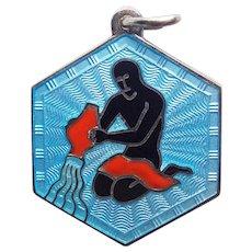 Sterling & Enamel DAVID ANDERSEN Vintage Charm or Pendant - Aquarius Zodiac Astrology - Norway Signed