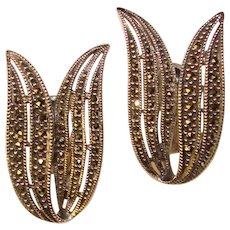 Fabulous JUDITH JACK Signed Sterling Marcasite Pierced Clip Back Earrings