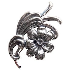 Gorgeous BEAU STERLING Flower Signed Vintage Brooch