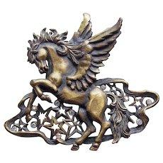 WINGED PEGASUS Vintage Brooch - Signed JJ - Jonette Jewelry Company - Stars & Aurora Rhinestones