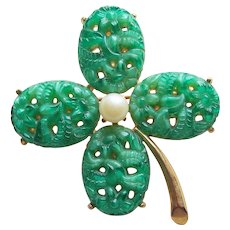 Lucky 4 FOUR LEAF CLOVER Shamrock Poured Glass Vintage Brooch - St. Patrick's Day