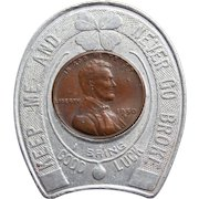 Lucky ENCASED 1950 PENNY Token - Souvenir Advertising - Never go Broke - Mid Century