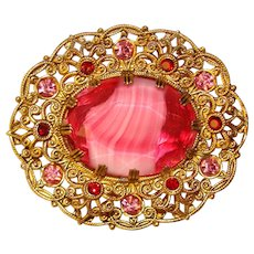 Fabulous West Germany CRANBERRY Glass & Pink Rhinestone Vintage Brooch