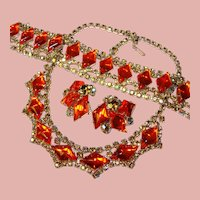 Fabulous ORANGE GLASS Aurora Rhinestone Vintage Set - Necklace Bracelet Earrings Parure