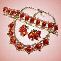 Fabulous ORANGE GLASS Aurora Rhinestone Vintage Set - Necklace Bracelet Earrings Parure