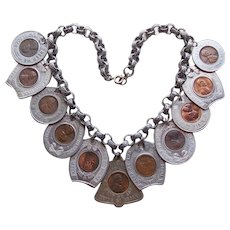 Fabulous LUCKY PENNY Encased Vintage Tokens Necklace - Souvenir Advertising Coin Cent Collector Numismatic Exonumia - Never Go Broke
