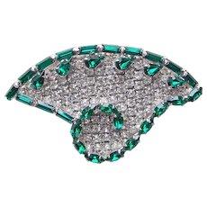 Fabulous GREEN & CLEAR RHINESTONE Vintage Brooch - Stylized Fan Shape