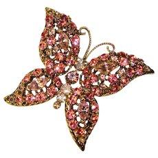 Fabulous BUTTERFLY Pink & Lavender Vintage Rhinestone Brooch