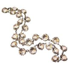 Fabulous ART DECO Open Back Clear Stones Necklace