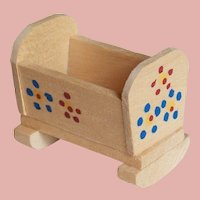 Tiny Vintage ROCKING CRADLE - Wooden with Painted Flowers for your Dollhouse
