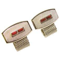 Awesome Vintage RED RHINESTONE Mesh Wrap Cufflinks