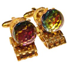 Fabulous FACETED CRYSTAL BALL Colorful Vintage Wrap Cufflinks