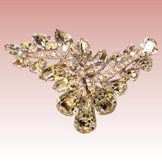 Fabulous Sparkling CLEAR RHINESTONE Vintage Brooch