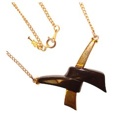 Awesome TRIFARI Black & Gold Colored Vintage Necklace