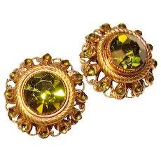Gorgeous W. GERMANY Peridot Green Colored Rhinestone Clip Earrings
