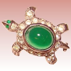 Awesome TINY TURTLE Vintage Green Glass Rhinestone Brooch