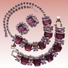 Fabulous D&E JULIANA Purple & Lavender Rhinestone Necklace Bracelet Earrings Set - 5 Oval Link Design