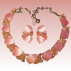 Fabulous Pink Moonglow Lucite Vintage Necklace Set