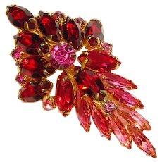 Fabulous Pink & Red OMBRE Navette Rhinestone Vintage Brooch