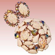 Fabulous WEISS Carnival Geode Stones Rhinestone Vintage Brooch Set