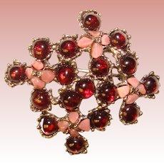 Gorgeous SWOBODA Garnet & Pink Stone Vintage Brooch