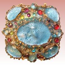 Fabulous ANDREE BAZOT Enameled Aqua Colored Brooch