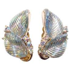 Gorgeous LISNER Signed Blue Carnival Glass Leaf Aurora Rhinestone Clip Earrings