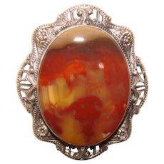 Fabulous UNCAS STERLING Agate Stone Vintage Brooch