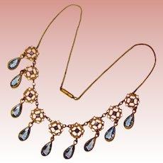 Fabulous Art Deco BLUE Crystal Glass Open Back Stones Dangle Necklace