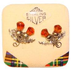 Sterling THISTLE Amber Glass Vintage Earrings - on Original Card Mizpah Signed