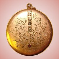 Fabulous Signed Antique LOCKET with Crystal Stones