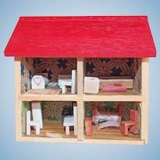 Miniature Dollhouse Vintage Diorama - with Tiny Doll Furniture