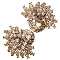 Fabulous PENNINO Signed Vintage Rhinestone Earrings