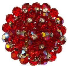 Gorgeous RED Vintage Aurora Crystal Brooch