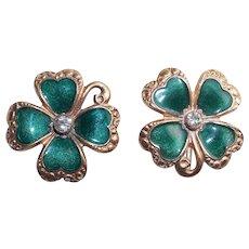 Awesome 4 LEAF CLOVER Shamrock Enamel Earrings - As Found - Screw Backs - St. Patrick's Day