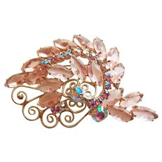 Fabulous PINK & Pink Aurora Glass & Rhinestone Vintage Brooch - Heart Scrolls - Spring Summer Colors
