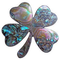 Lucky 4 LEAF CLOVER Shamrock Sterling Abalone Vintage Brooch or Pendant - Mexican - St. Patrick's Day