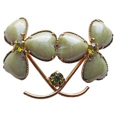 Lucky 3 LEAF CLOVER Shamrock Green Glass Rhinestone Vintage Brooch - Austria - St. Patrick's Day