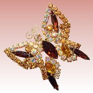 Fabulous RHINESTONE BUTTERFLY Vintage Estate Brooch