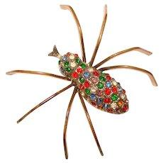 Fabulous SPIDER 1940's Color Rhinestone Figural Vintage Brooch