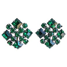 Gorgeous GREEN RHINESTONE Vintage Earrings