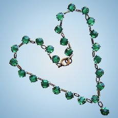 Doll Necklace - Art Deco Green Open Backed Glass Crystal Necklace