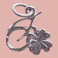 Sterling LUCKY CHARMS Signed Vintage Charm - Horseshoe Wishbone 4 Leaf Clover Shamrock