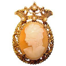 Regal Vintage FLORENZA Carved Shell Cameo Signed Vintage Brooch