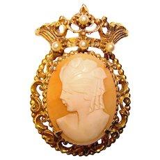 Regal Vintage FLORENZA Carved Shell Cameo Signed Vintage Brooch