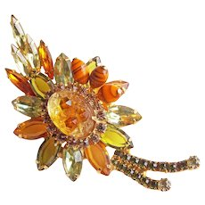 Fabulous GEODE GLASS Rhinestone Vintage Brooch - Amber Green Yellow Orange Colors