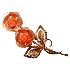 Gorgeous CARVED CORAL Gold Filled Vintage Brooch