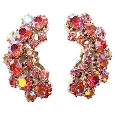 Gorgeous PINK  Aurora Rhinestone Vintage Clip Earrings