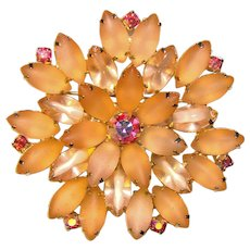 Fabulous FROSTED PINK Glass Aurora Rhinestones Vintage Brooch